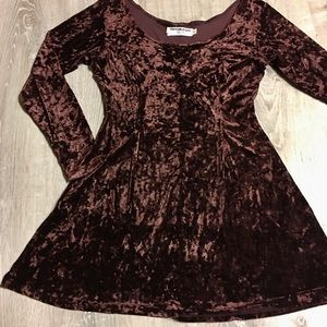 Vintage Brown Crushed Velvet Dress Size Med